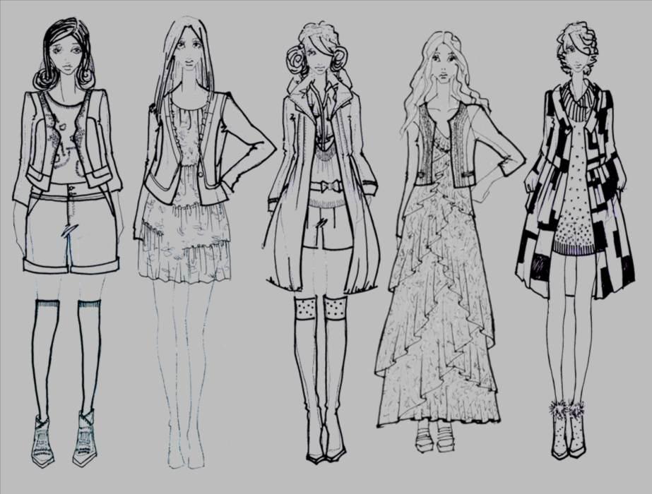民族风服饰手绘图,民族风服装设计手绘图,民族风服装